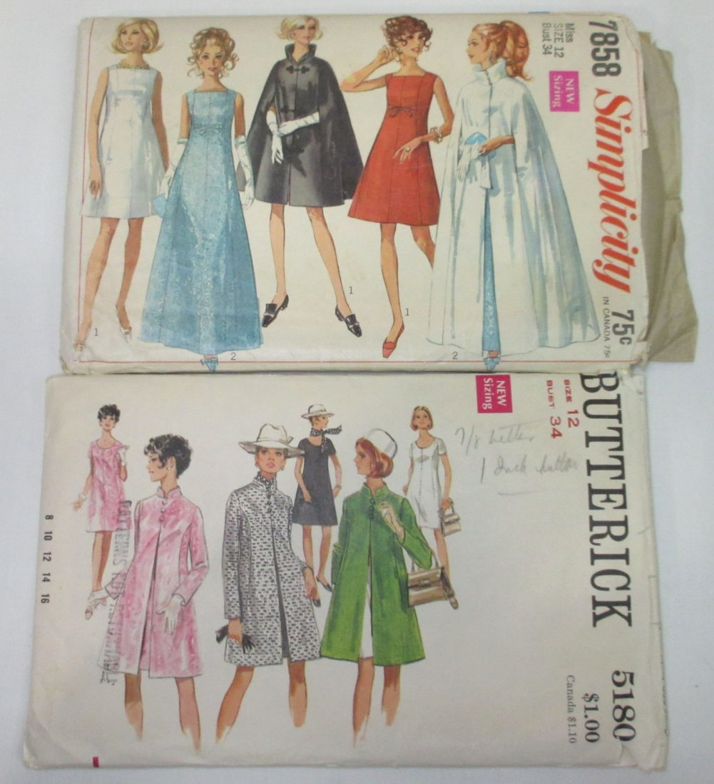 "9 Vtg 60's Dress, Coat & Swim Patterns, Bust 34"" - 2"