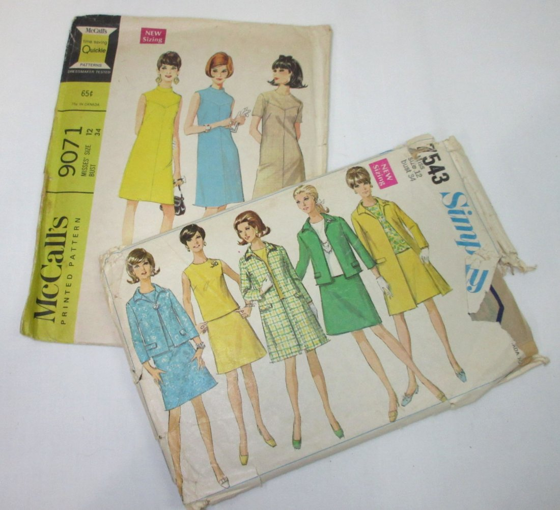 "9 Vtg 60's Dress, Coat & Swim Patterns, Bust 34"" - 4"