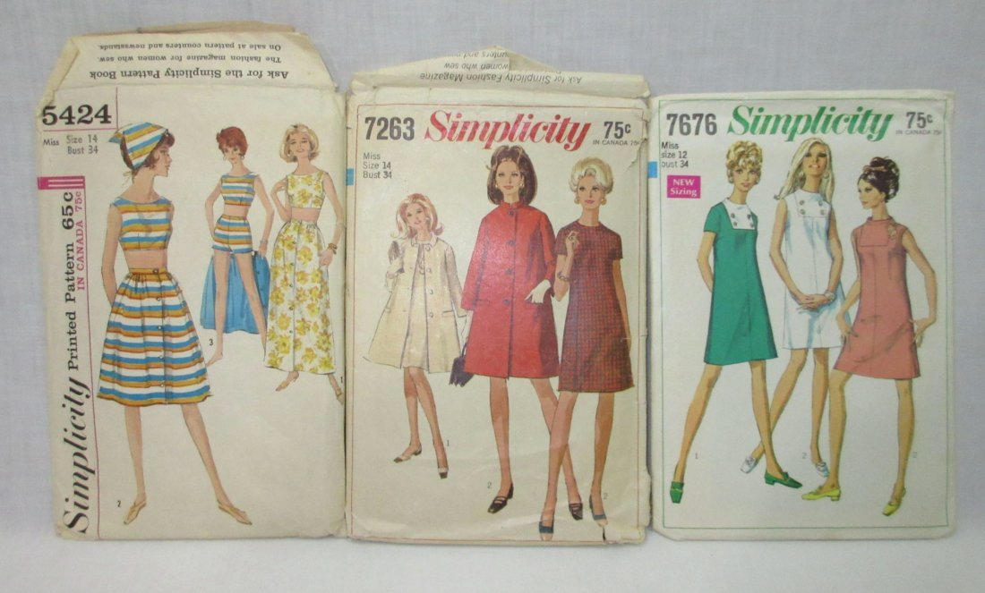 "9 Vtg 60's Dress, Coat & Swim Patterns, Bust 34"" - 5"