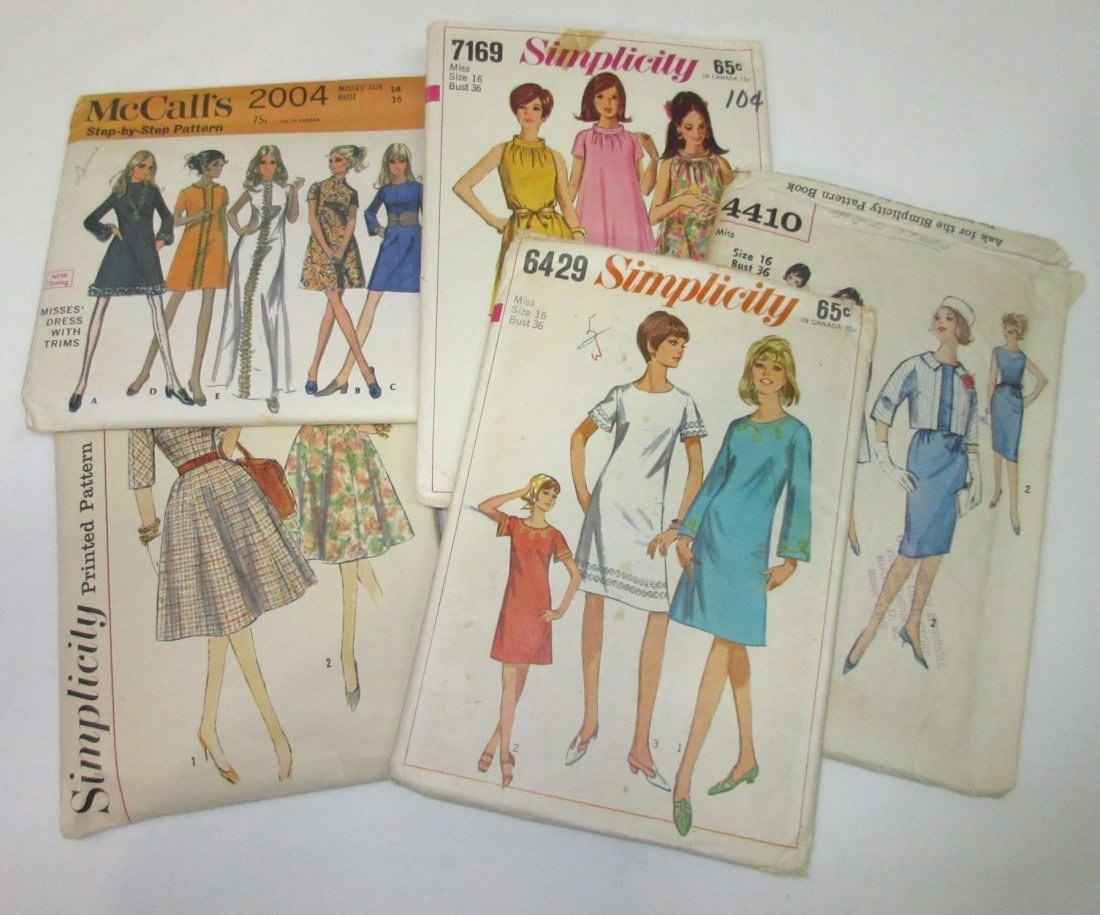 "5 Vtg Classic 60's Bust 36"" Dress Patterns"