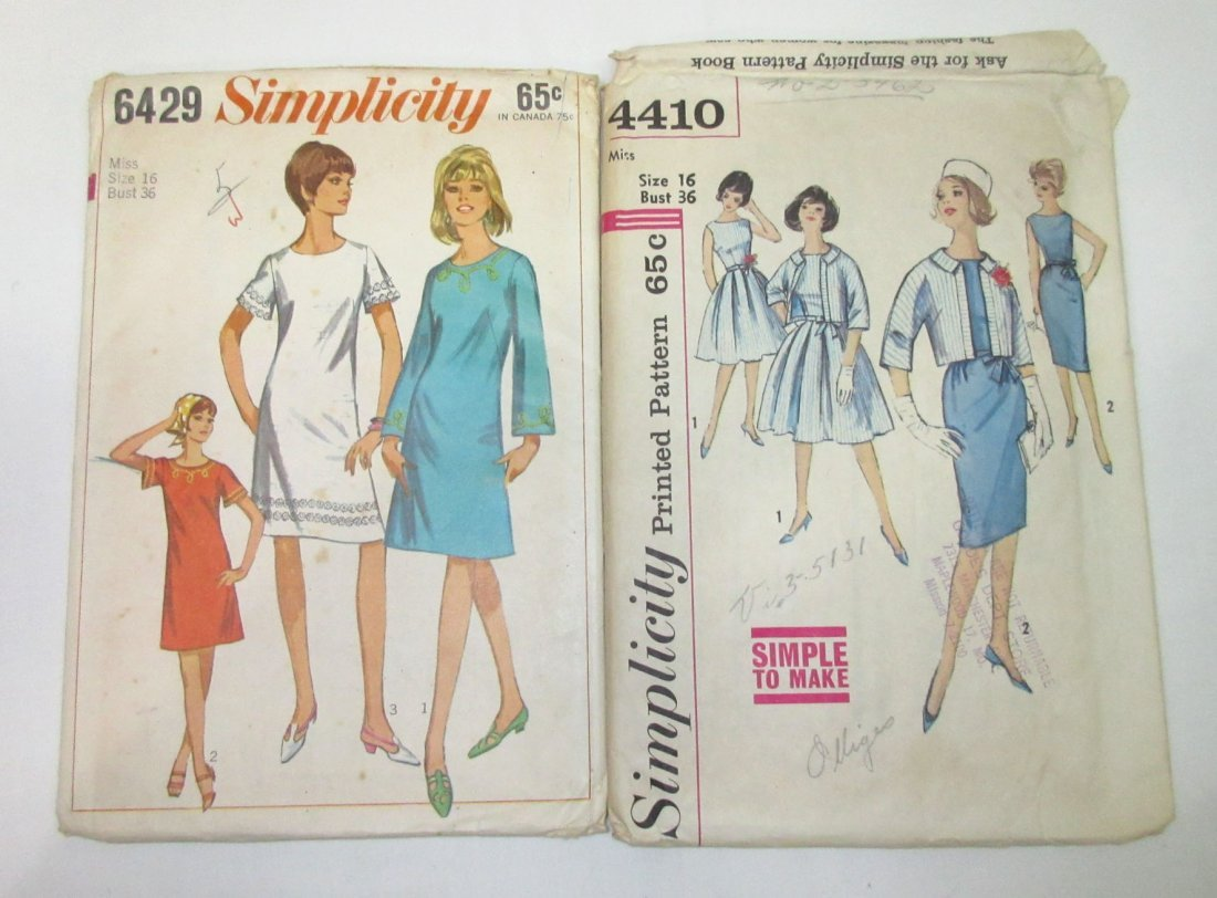 "5 Vtg Classic 60's Bust 36"" Dress Patterns - 2"
