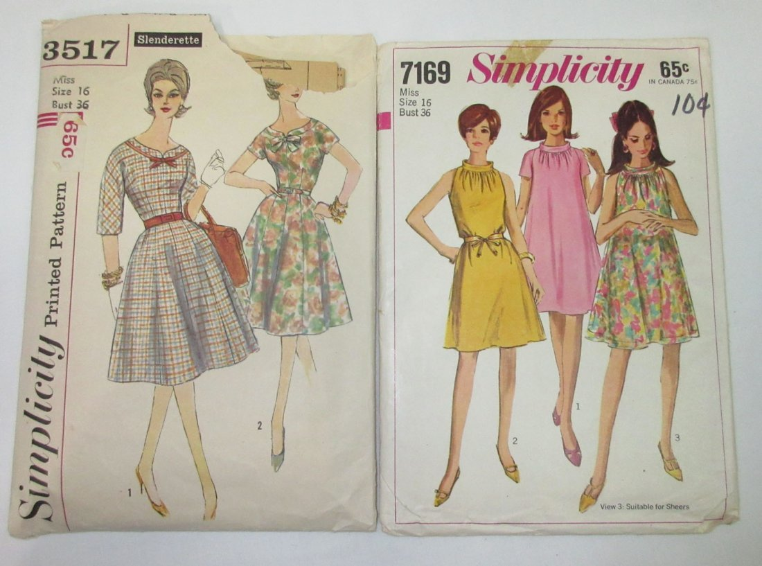 "5 Vtg Classic 60's Bust 36"" Dress Patterns - 3"