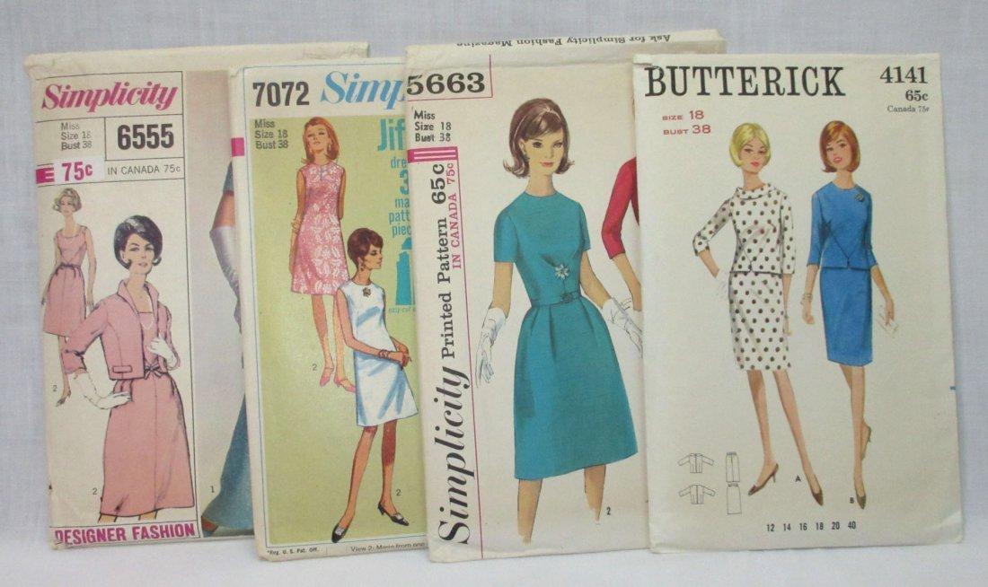 "4 Vtg Classy 60's Bust 38"" Dress Patterns"