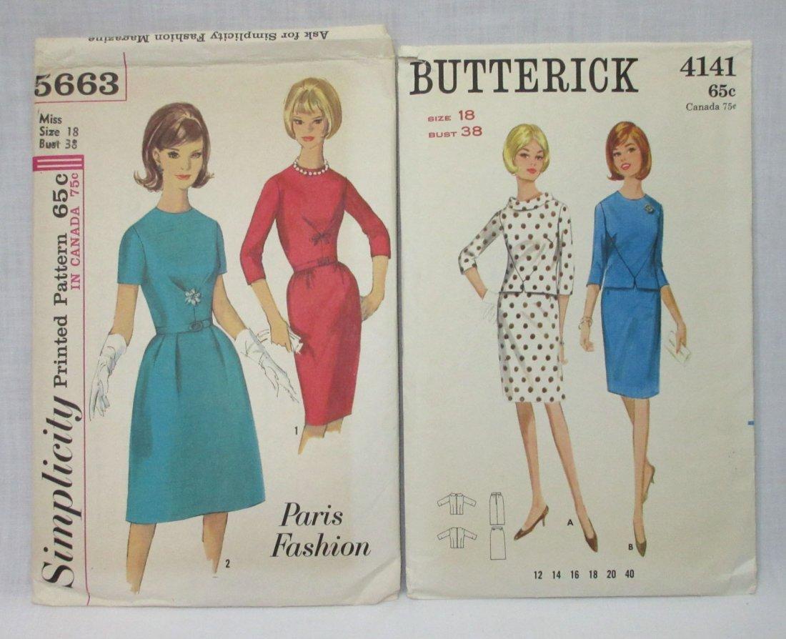 "4 Vtg Classy 60's Bust 38"" Dress Patterns - 3"