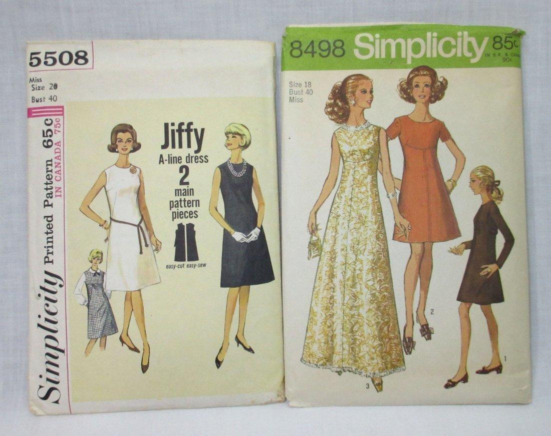 2 Vtg 60's A Line Dress Patterns , Bust 40