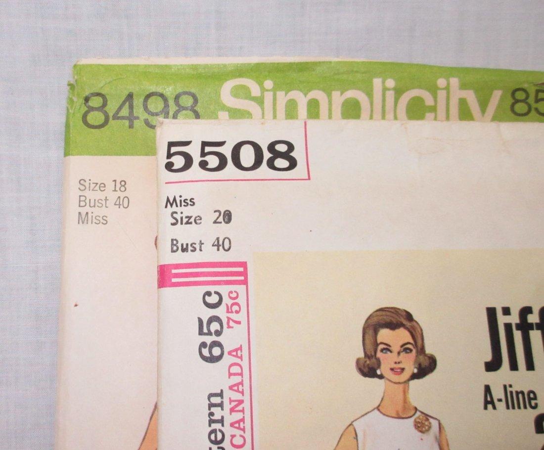 2 Vtg 60's A Line Dress Patterns , Bust 40 - 2