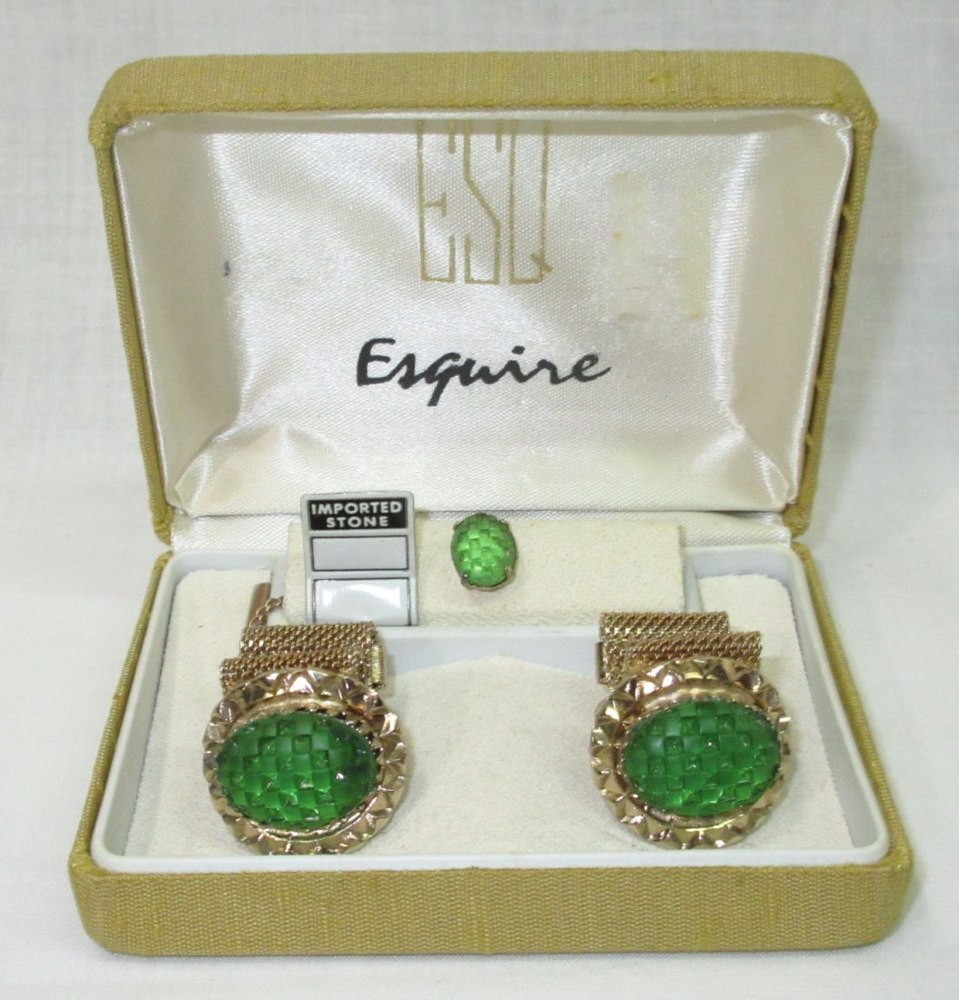 Vtg. Esquire Fold over Mesh Cuff Link Box'd Set