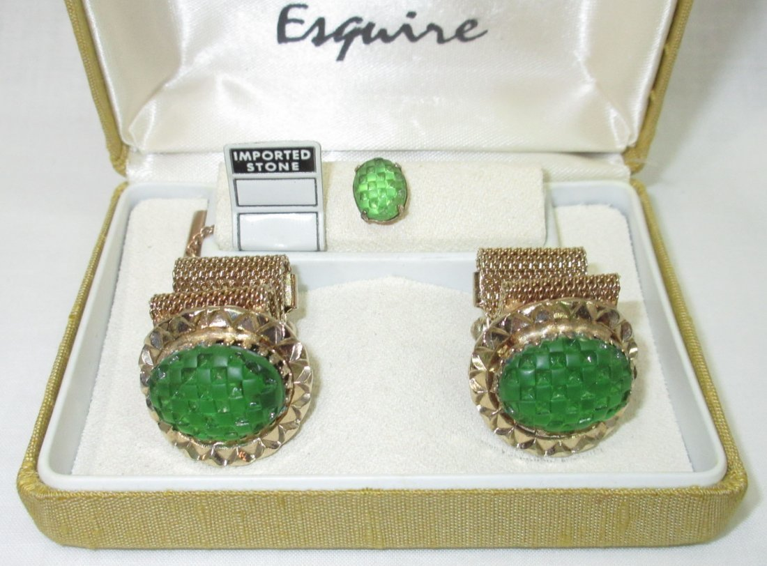 Vtg. Esquire Fold over Mesh Cuff Link Box'd Set - 2