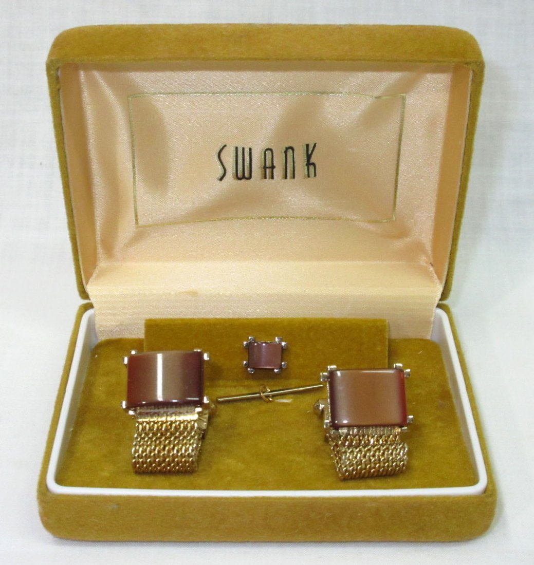 Vtg. Swank Thermoset Mesh Cuff Link Box'd Set