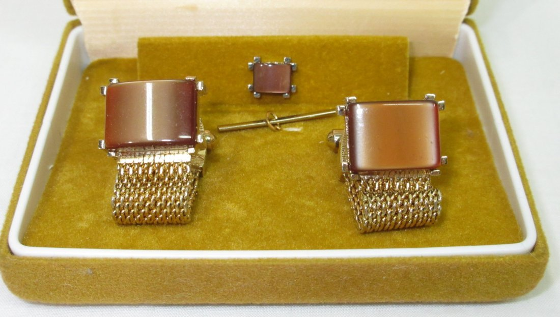 Vtg. Swank Thermoset Mesh Cuff Link Box'd Set - 2