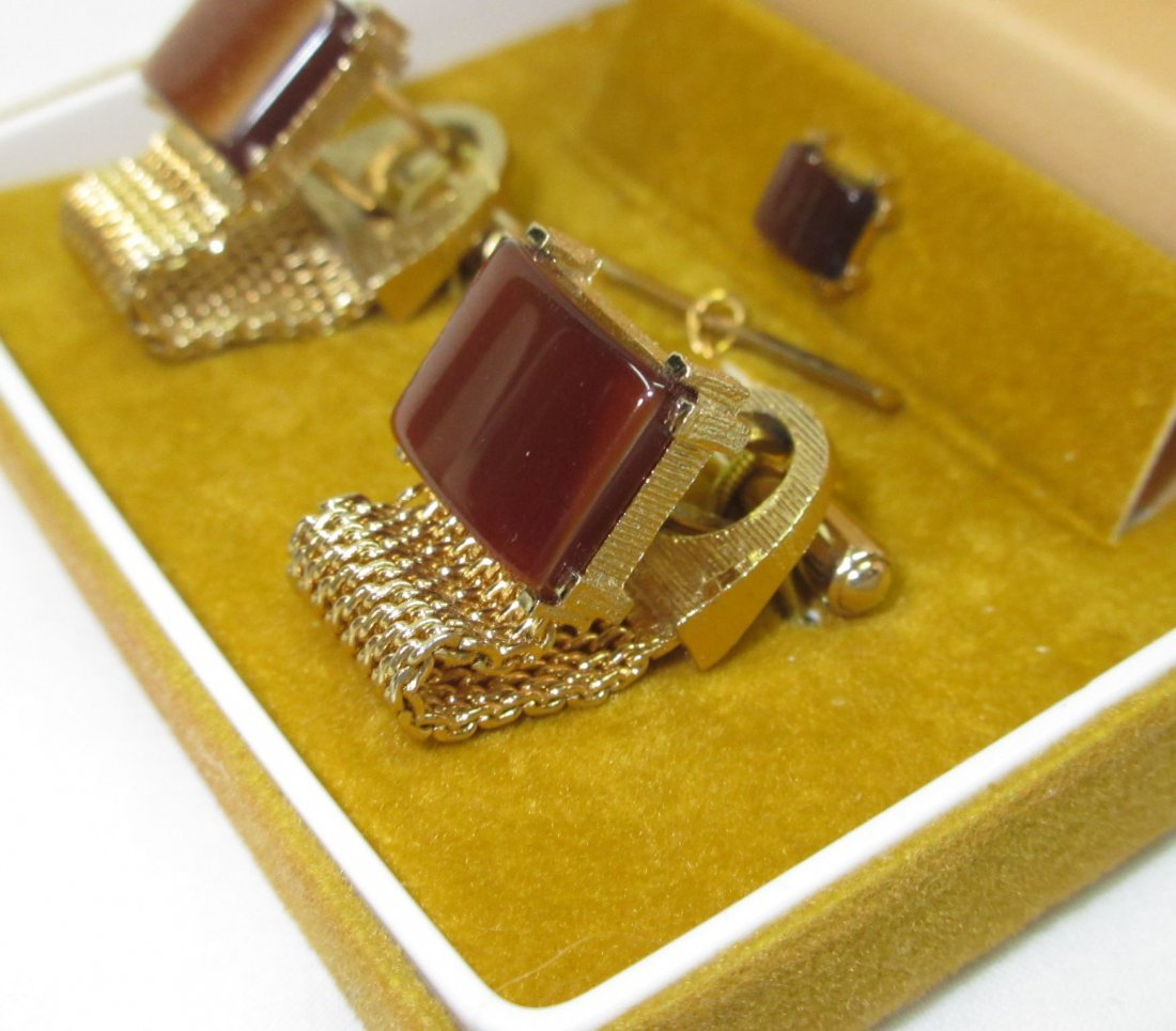 Vtg. Swank Thermoset Mesh Cuff Link Box'd Set - 3