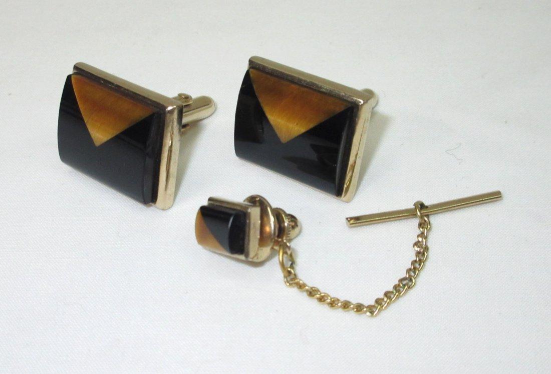 Classic Gold/Black Cuff Link Set