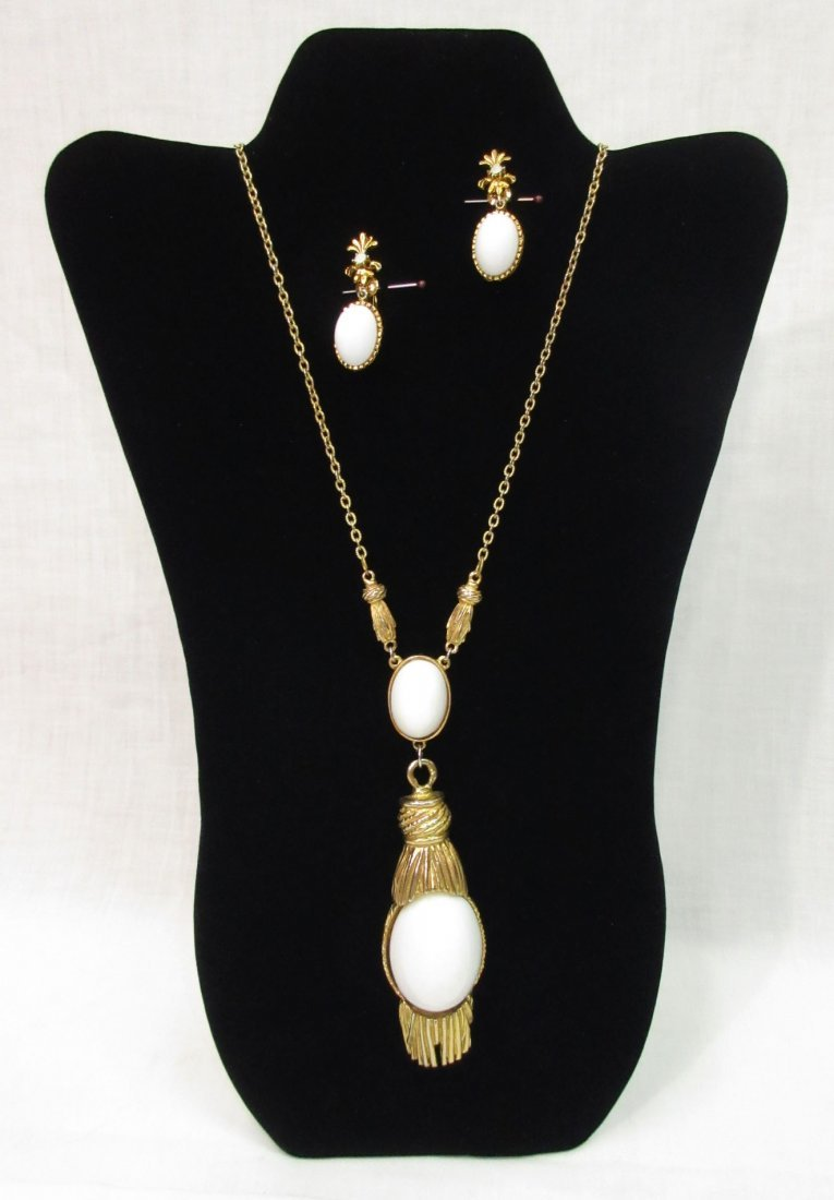 Bold, Classic Heavy White Lucite Neck & Earrings