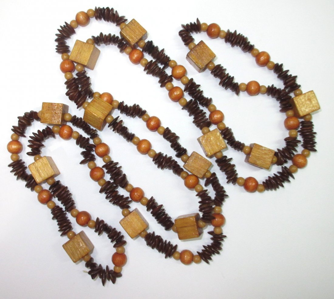 70's Unique Wood/Apple Seed Bead Necklace + - 3