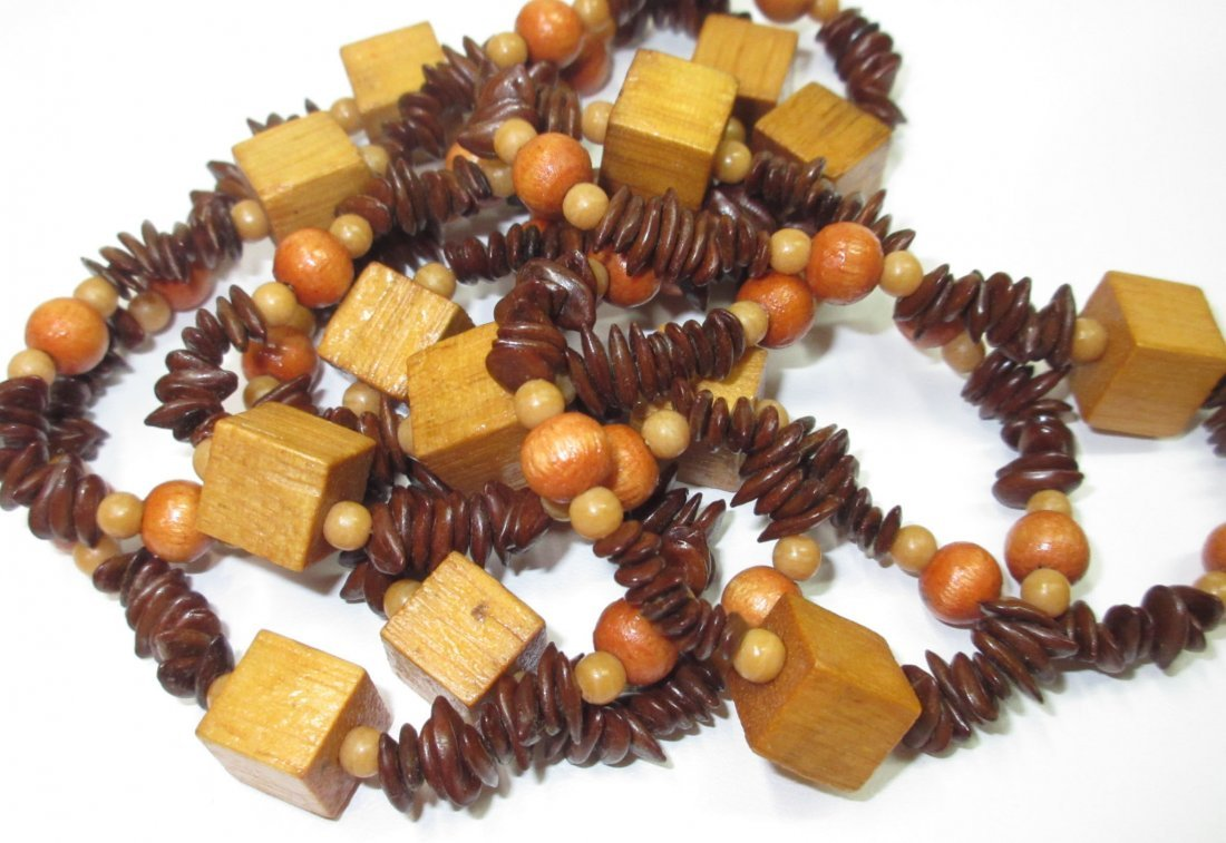 70's Unique Wood/Apple Seed Bead Necklace + - 4