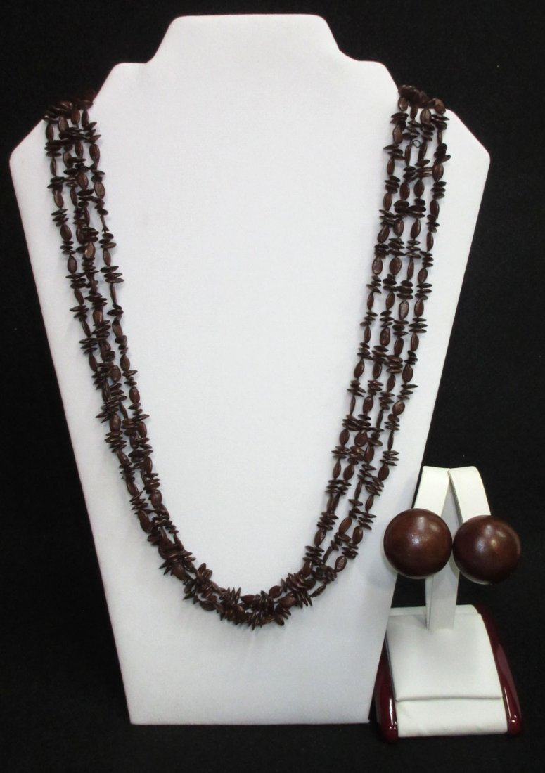 4 Strand Apple Seed Necklace & Earrings