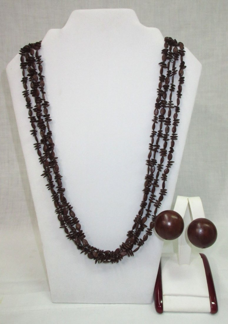 4 Strand Apple Seed Necklace & Earrings - 2