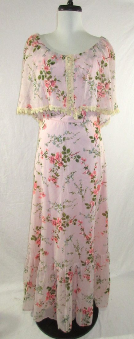 Pink 70's Floral Maxi Dress
