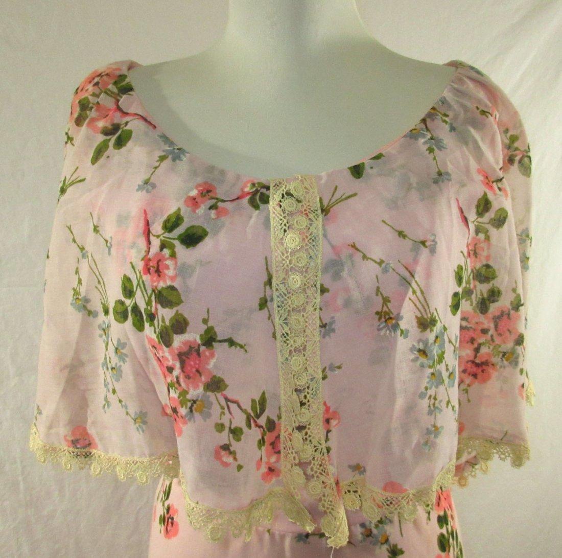 Pink 70's Floral Maxi Dress - 2
