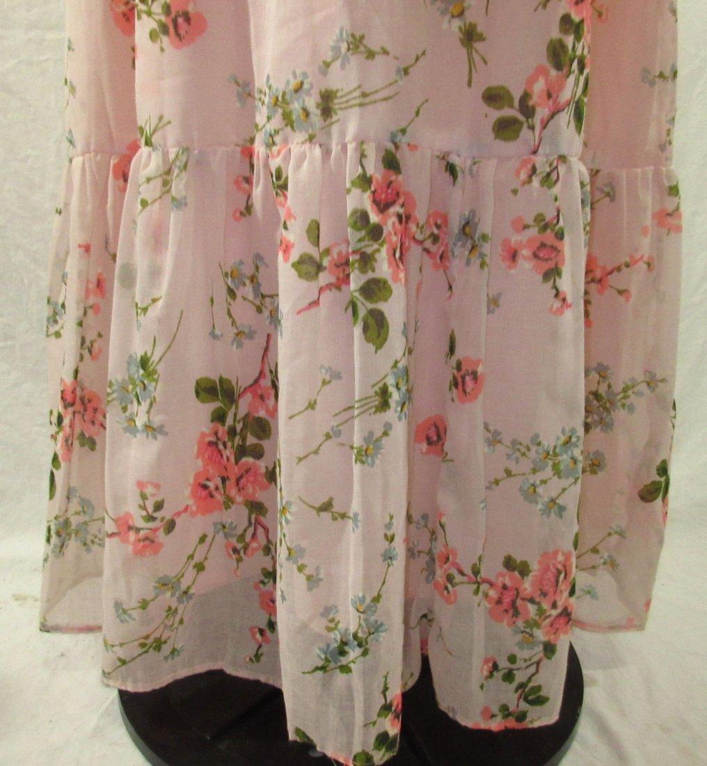 Pink 70's Floral Maxi Dress - 3