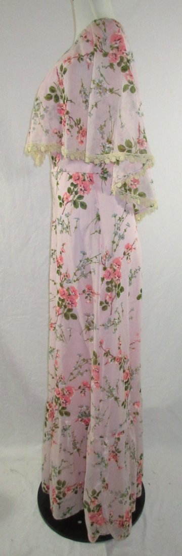Pink 70's Floral Maxi Dress - 4