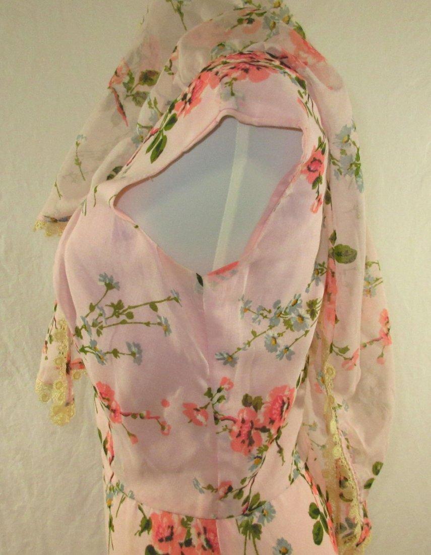 Pink 70's Floral Maxi Dress - 6