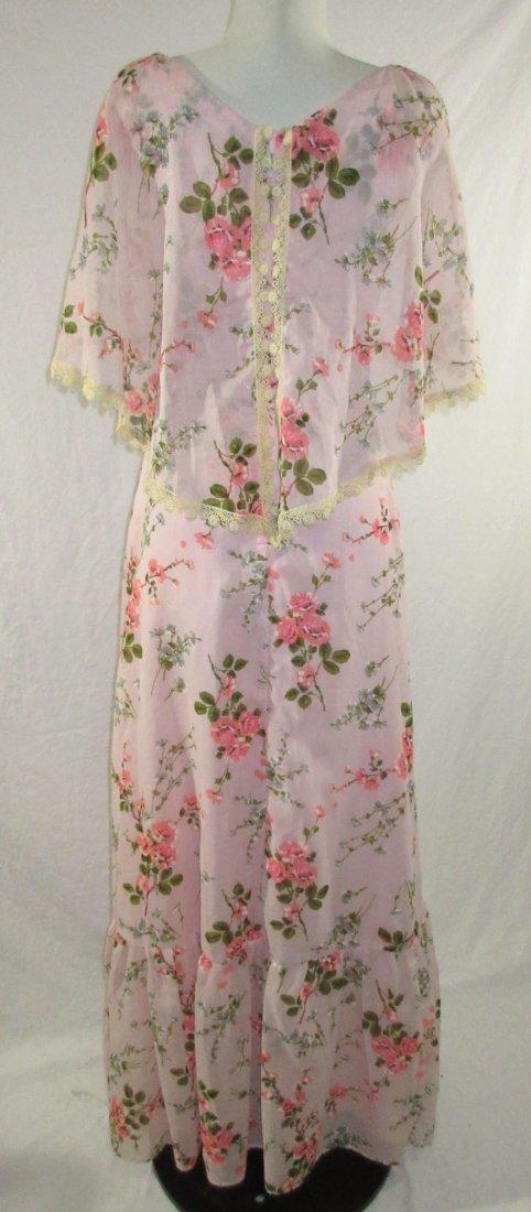 Pink 70's Floral Maxi Dress - 7