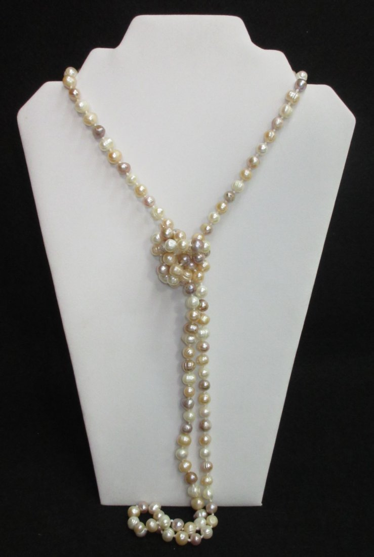 Fabulous 70's H.T.'d Genuine Circle Pearl Necklace - 2