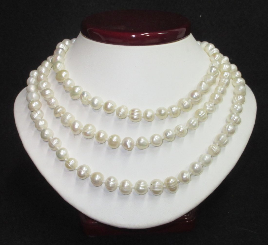 Quality 70's H.T.'d Genuine Circle Pearl Necklace - 2