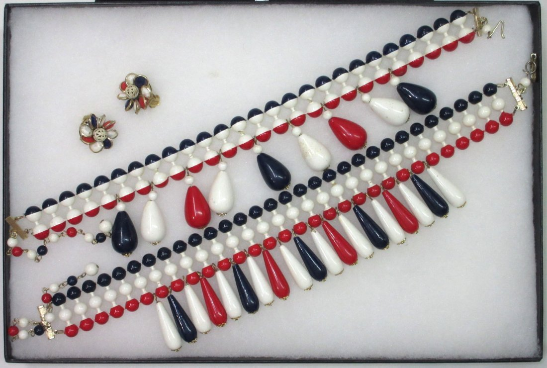 3pc Patriotic Wooden Bead Necklace/Earrings