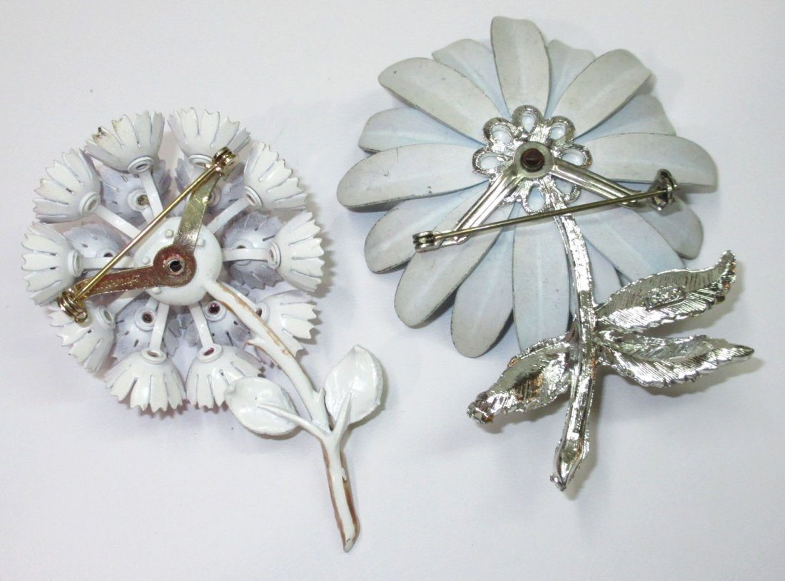 Coro Enameled Metal Flower Pin's & Earrings 5pc - 3