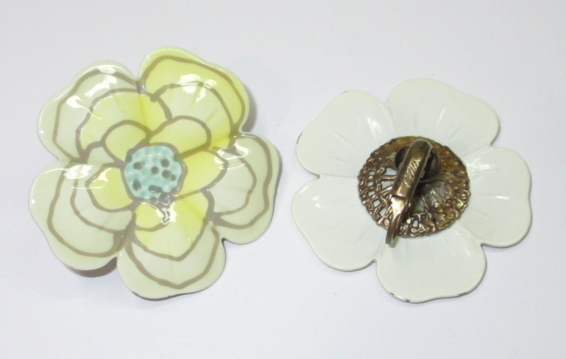 Coro Enameled Metal Flower Pin's & Earrings 5pc - 6