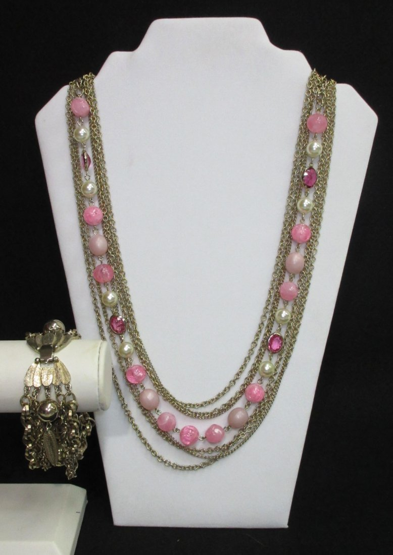 7 Strand Chain/ Beaded Necklace & Krammer Brac