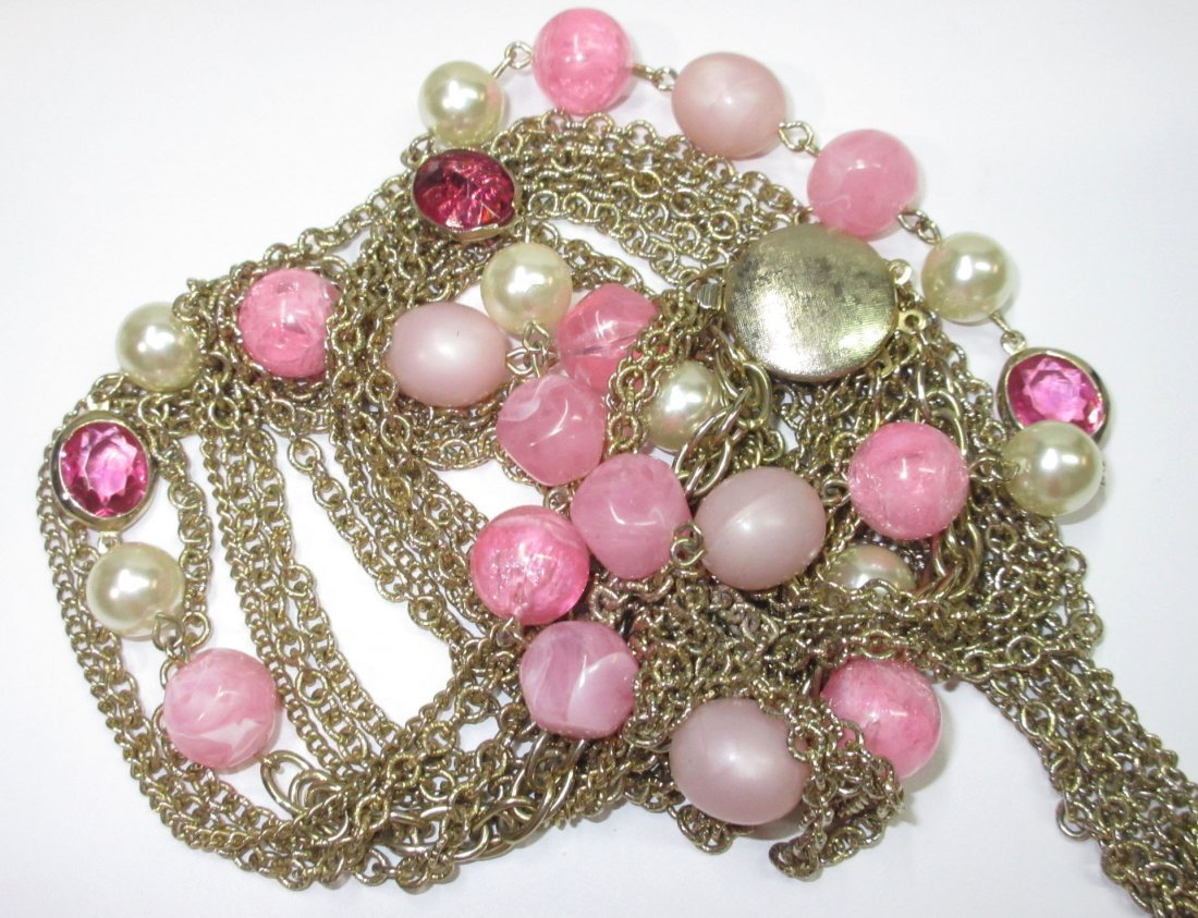 7 Strand Chain/ Beaded Necklace & Krammer Brac - 4