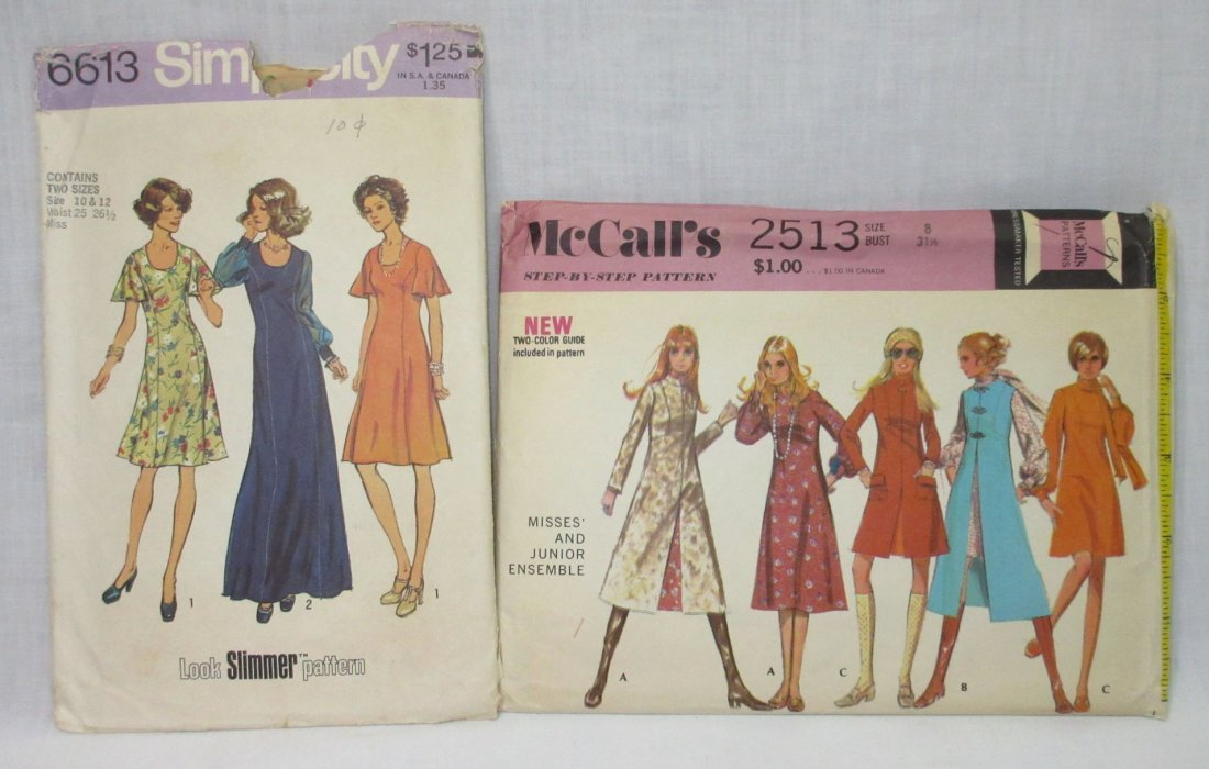 "Vtg. 1970's Dress Pattern's, Bust 31 1/2-34"" (2pc)"