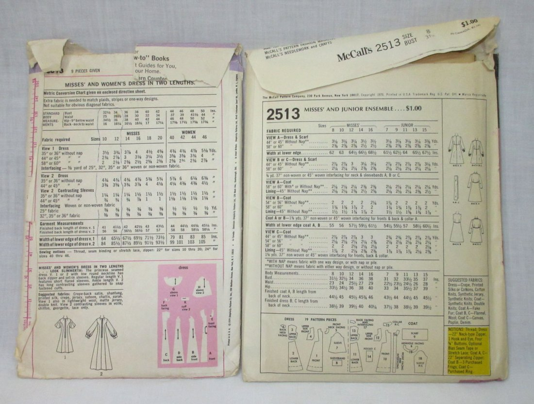"Vtg. 1970's Dress Pattern's, Bust 31 1/2-34"" (2pc) - 3"