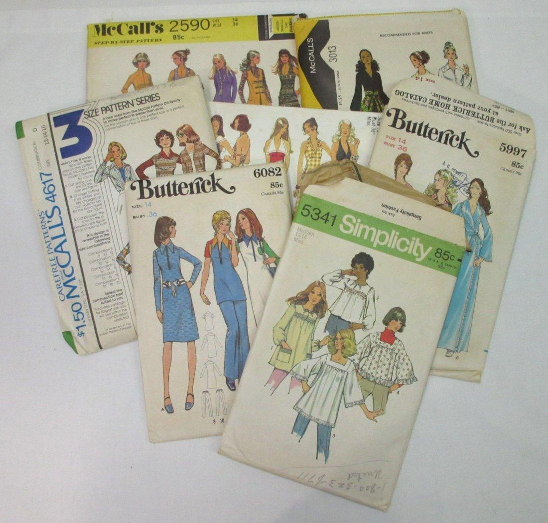 "7 Vtg. 70's Bust 36"" Variety of Dress Patterns"