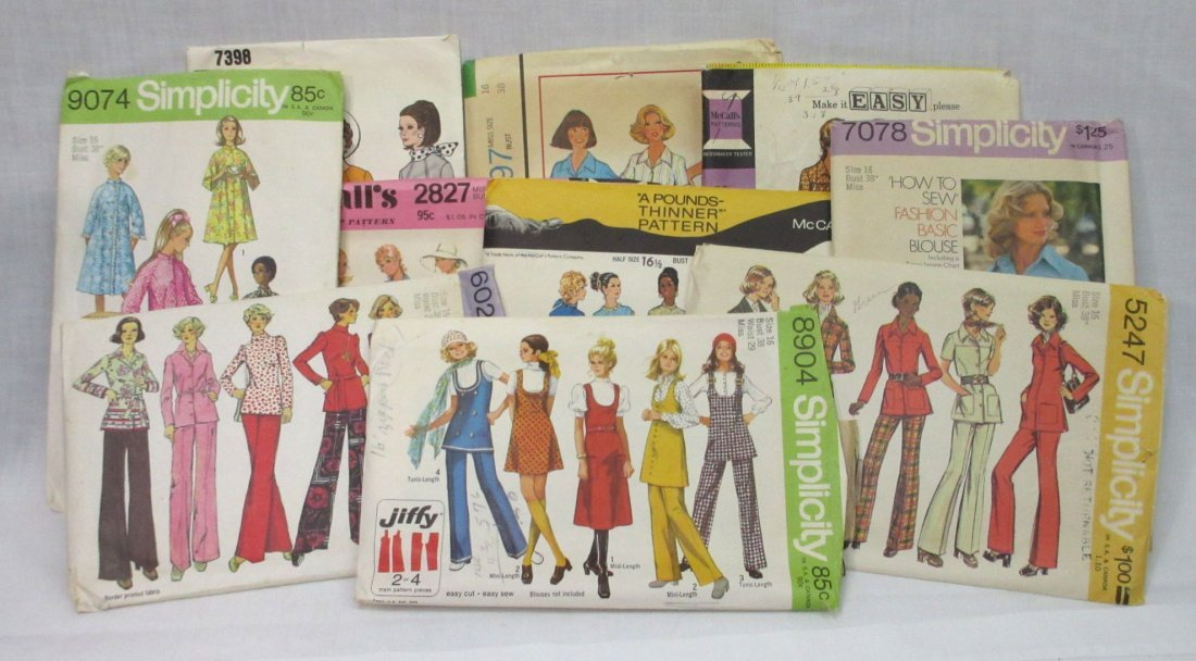 """10 Great 70's Bust 38"""" Dress/Pant Patterns"""