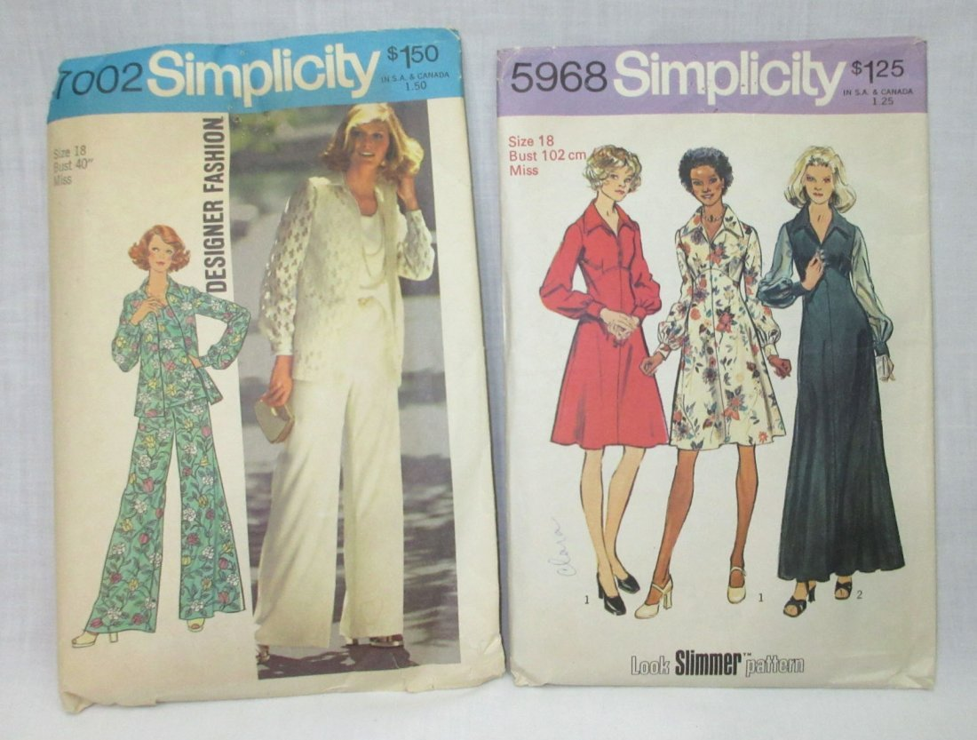 """8 Vtg 70's Cocktail & Dress Patterns, Bust 40"""" - 2"""