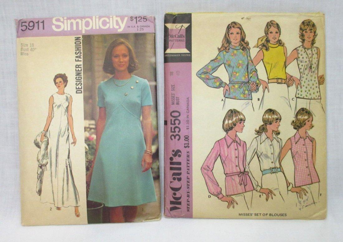 """8 Vtg 70's Cocktail & Dress Patterns, Bust 40"""" - 4"""