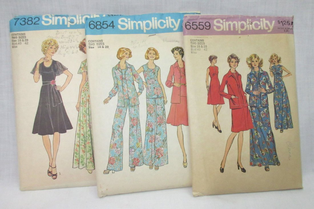 "3 Vtg 70's Bust 40/42"" Dress Patterns"