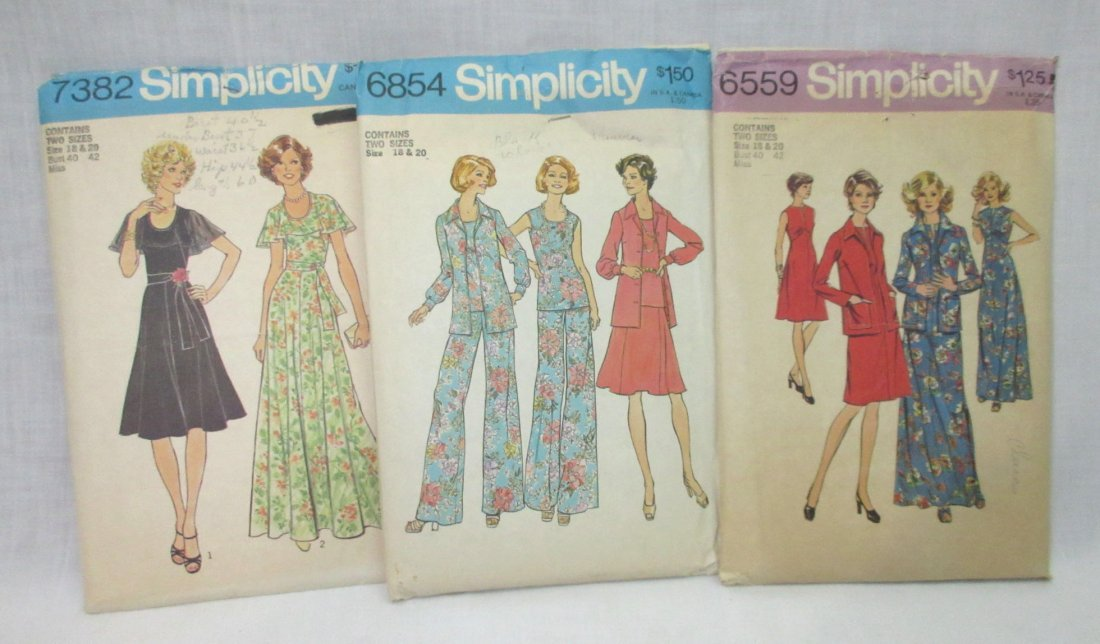 "3 Vtg 70's Bust 40/42"" Dress Patterns - 2"
