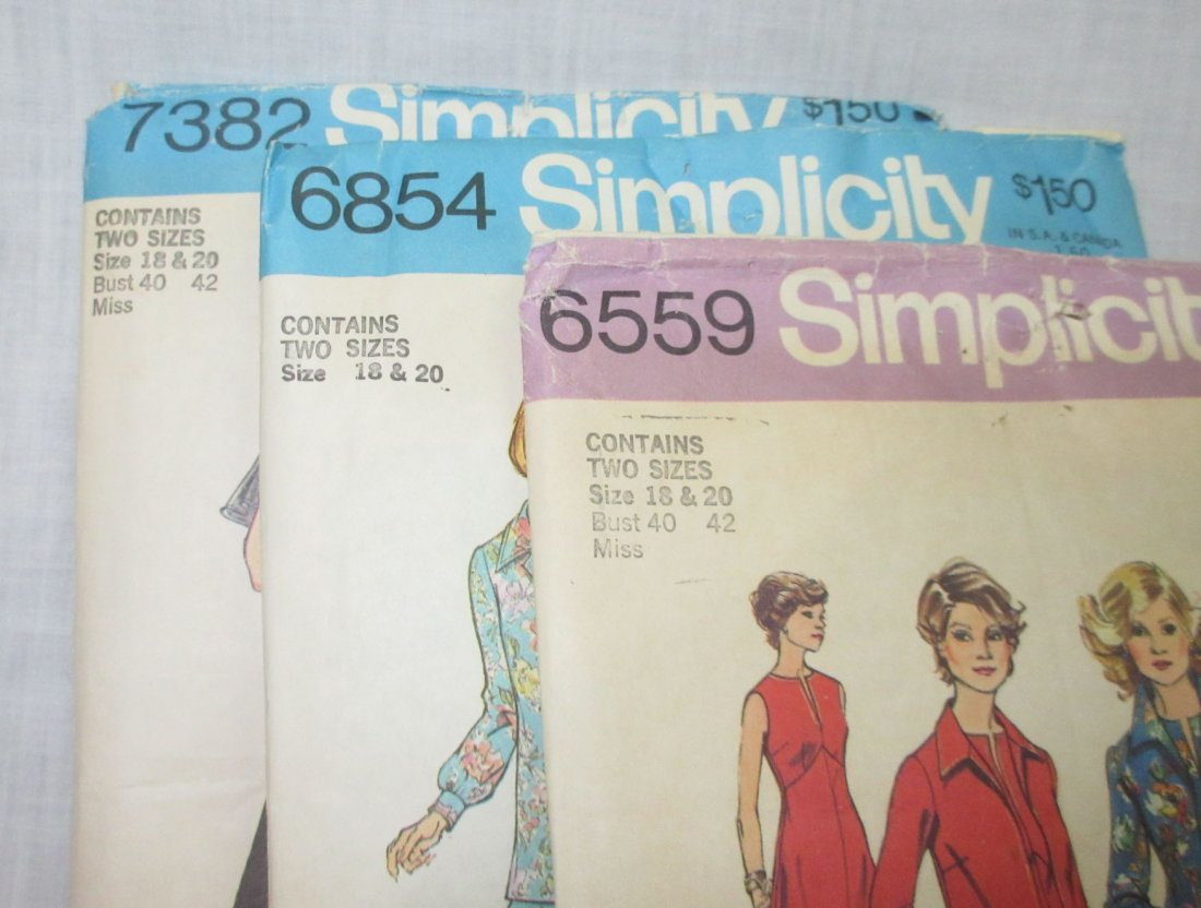 "3 Vtg 70's Bust 40/42"" Dress Patterns - 3"