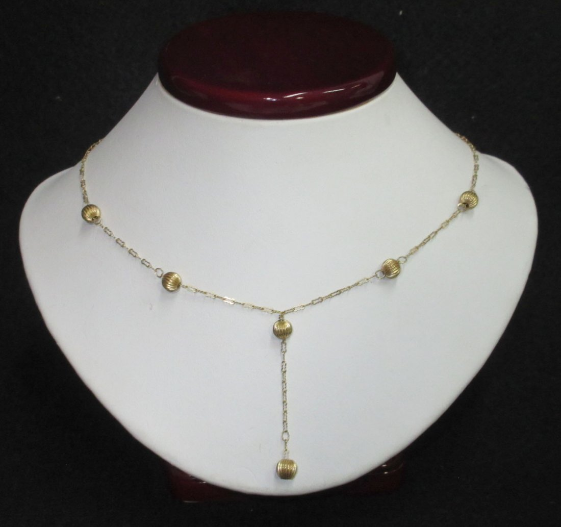 14kt Delicate Chain & Ball Necklace