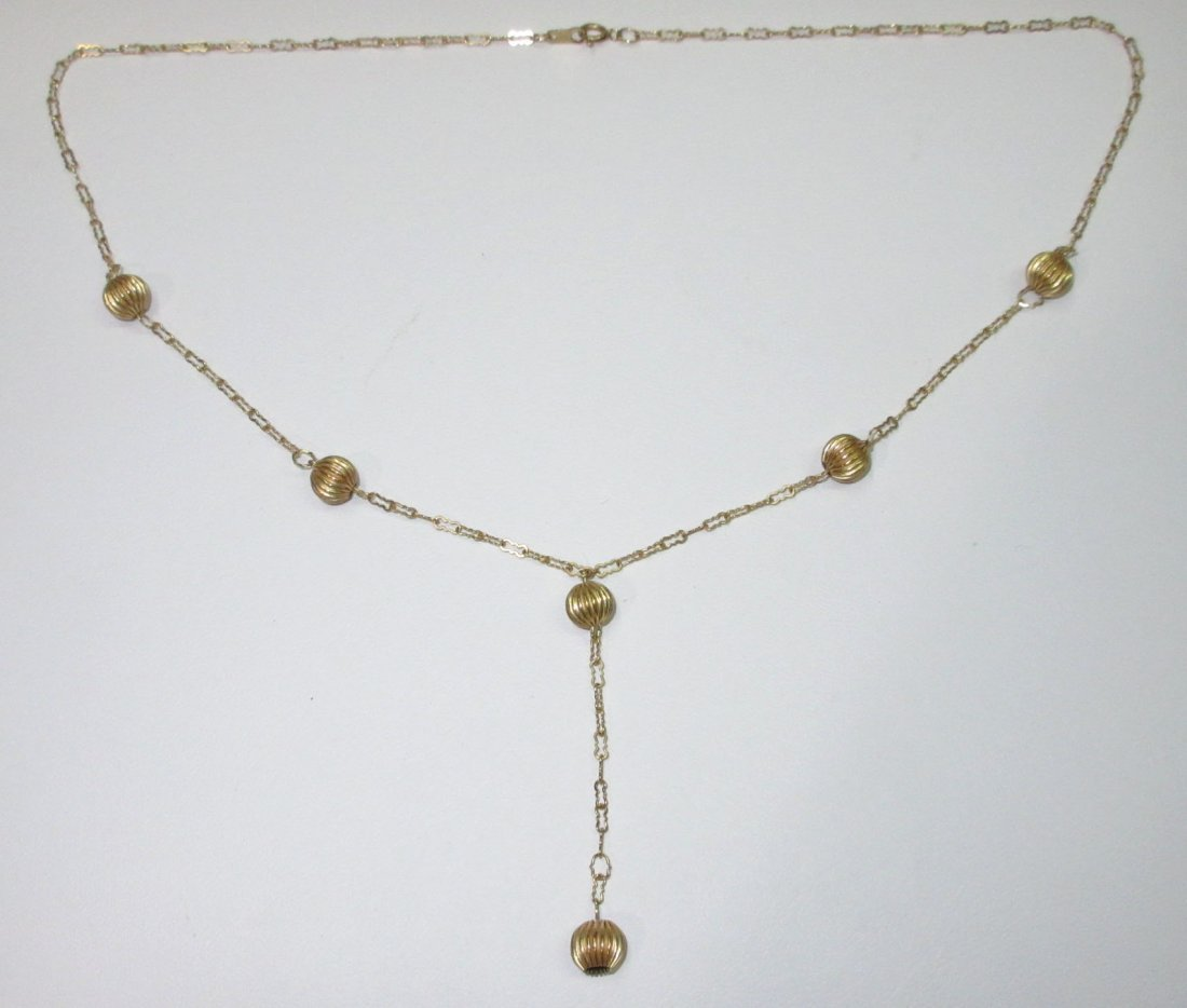 14kt Delicate Chain & Ball Necklace - 2