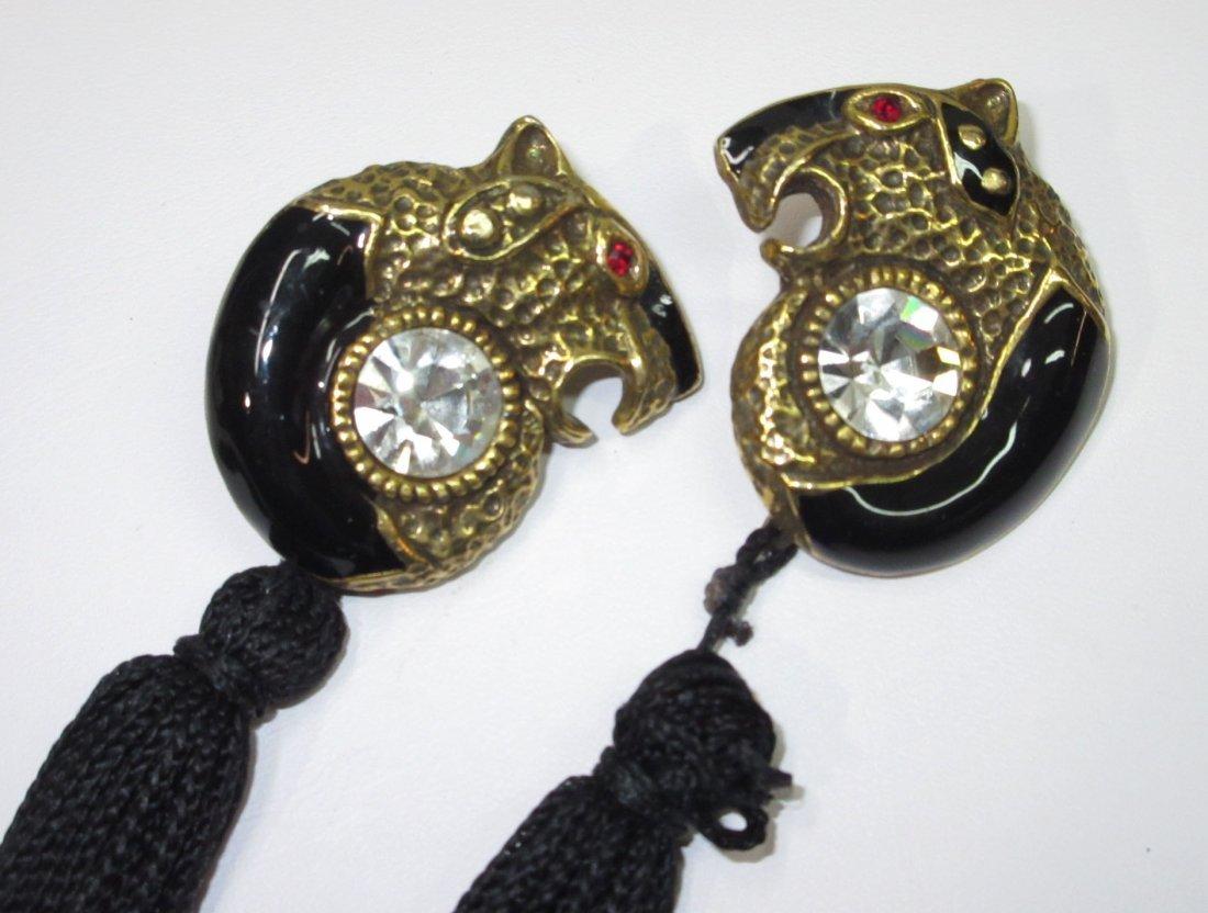 Rhinestone, Enameled Tiger Pin & Nice Earrings - 2