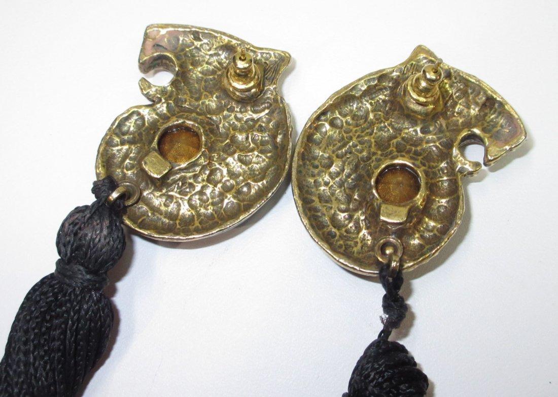 Rhinestone, Enameled Tiger Pin & Nice Earrings - 3