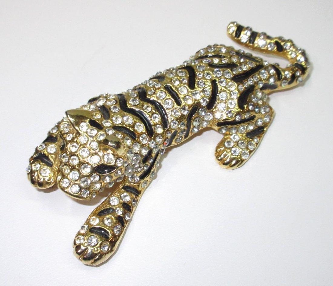 Rhinestone, Enameled Tiger Pin & Nice Earrings - 4