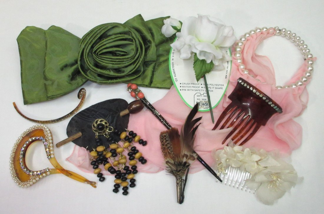Vtg Hair & Dress Ornaments 8pc