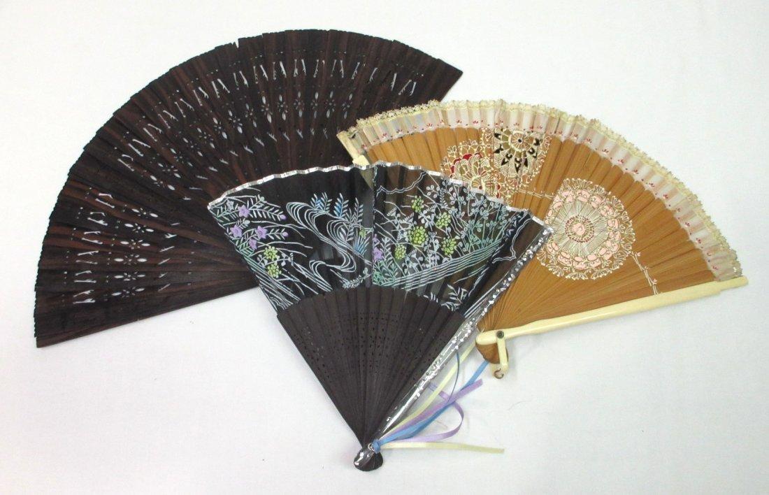 3 Vintage Fan's - Teak, Enameled